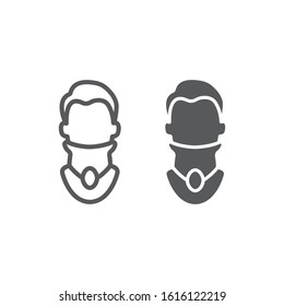 Cervical collar line and glyph icon, orthopedic and medical, neck bandage sign, vector graphics, a linear pattern on a white background, eps 10.