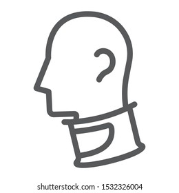 Cervical collar line icon, orthopedic and medical, neck collar sign, vector graphics, a linear pattern on a white background, eps 10.