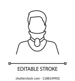 Cervical collar linear icon. Neck brace. Thin line illustration. Medical plastic neck support. Orthopedic collar. Traumatic head and neck injuries. Vector isolated outline drawing. Editable stroke