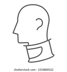 Cervical collar thin line icon, orthopedic and medical, neck collar sign, vector graphics, a linear pattern on a white background, eps 10.