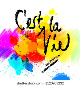 C'est la vie. lettering on colorful backgound. Hand drawn vector design.