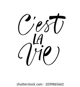 C'est la vie phrase. It's life phrase in French. Ink illustration. Modern brush calligraphy. Isolated on white background.