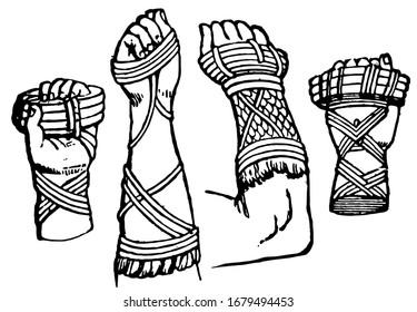 Cestus are worn by Roman pugilist, vintage engraving.