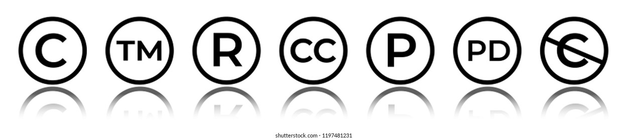 Cet of circular copyright and trademark icons. Right reserved signs.