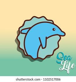 cetacean dolphin sea life cartoon