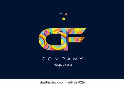 cf c f alphabet letter logo colors colorful rainbow acrylic font creative text dots company vector icon design template