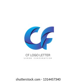 cf c f circle lowercase design of alphabet letter combination with infinity suitable as a logo for a company or business - Vector
