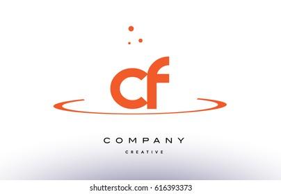 CF C F creative orange swoosh dots alphabet company letter logo design vector icon template