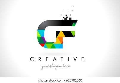 CF C F Letter Logo with Colorful Vivid Triangles Texture Design Vector Illustration.