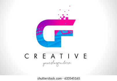 CF C F Letter Logo with Broken Shattered Blue Pink Triangles Texture Design Vector Illustration.
