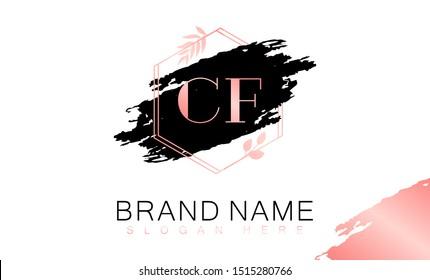 CF C F logo, CF initial logo design, Gold color, C F logo, CF Letter Logo Design Template Vector EPS