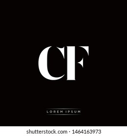 CF C F Logo Monogram with Black and White Colors