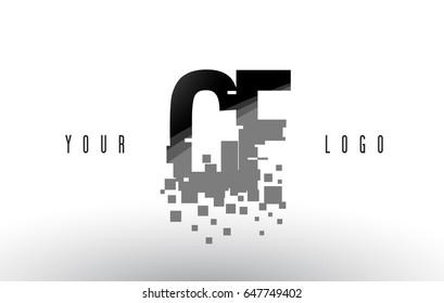 CF C F Pixel Letter Logo with Digital Shattered Black Squares. Creative Letters Vector Illustration.