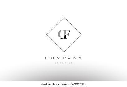 cf c f  retro vintage black white alphabet company letter logo line design vector icon template