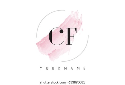CF C F Watercolor Letter Logo Design with Circular Shape and Pastel Pink Brush.