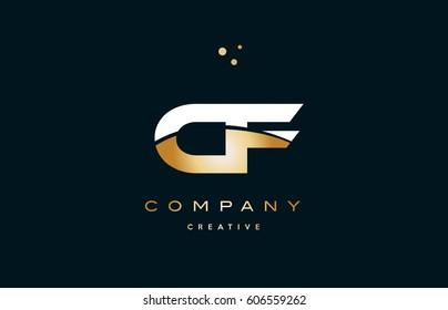 cf c f  white yellow gold golden metal metallic luxury alphabet company letter logo design vector icon template