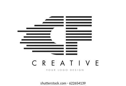 CF C F Zebra Letter Logo Design with Black and White Stripes Vector