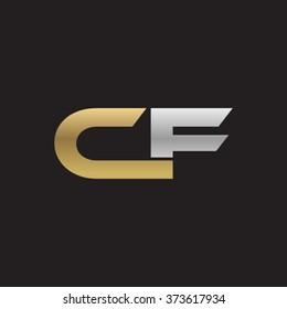 CF company linked letter logo golden silver black background