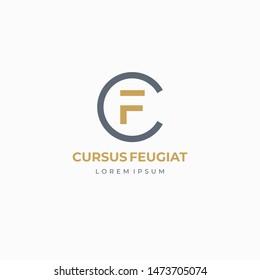 CF or FC. Monogram of Two letters C&F. Luxury, simple, minimal and elegant CF logo design. Vector illustration template.