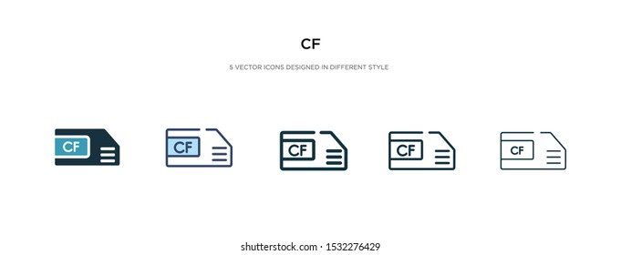 cf icon in different style vector illustration. two colored and black cf vector icons designed in filled, outline, line and stroke style can be used for web, mobile, ui