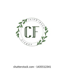 CF Initial beauty floral logo template