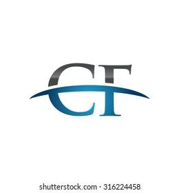 CF initial company blue swoosh logo