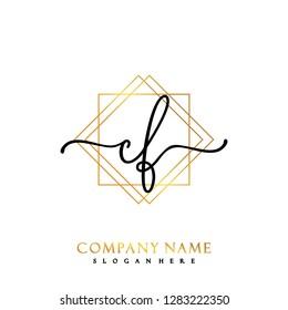 CF Initial Handwriting logo template vector