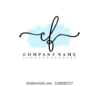 CF Initial handwriting logo vector