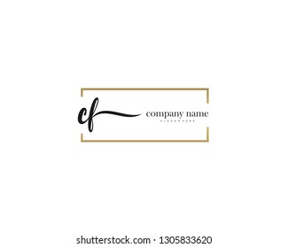 CF Initial handwriting logo vector. Hand lettering for designs.