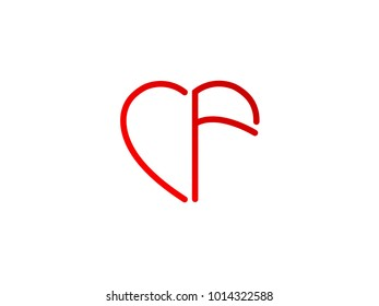 CF initial heart shape red colored logo