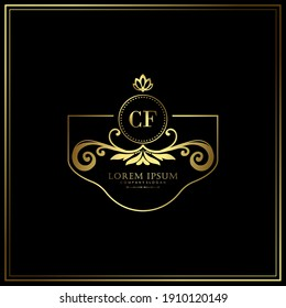 CF Initial Letter Luxury Logo template in vector art for Restaurant, Royalty, Boutique, Cafe, Hotel, Heraldic, Jewelry, Fashion and other vector illustration.