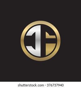 CF initial letters circle elegant logo golden silver black background