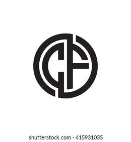 CF initial letters linked circle monogram logo