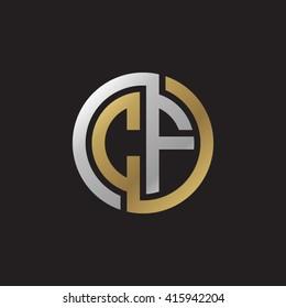 CF initial letters linked circle elegant logo golden silver black background