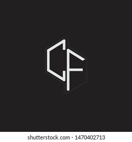 CF Initial Letters logo monogram with up to down style isolated on black background