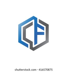 CF initial letters loop linked hexagon logo black gray blue