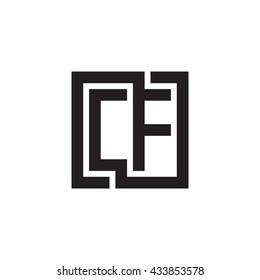 CF initial letters looping linked square monogram logo