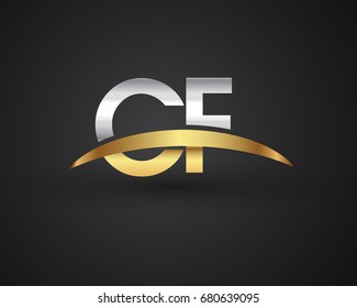 CF initial logo company name colored gold and silver swoosh design. vector logo for business and company identity.