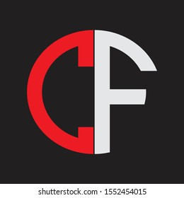 CF Initial Logo design Monogram Isolated on black background