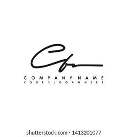 CF initial signature logo. handwriting logo template vector,