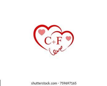 CF Initial wedding invitation, love logo template vector