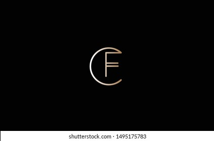 CF Letter Logo Design with Creative Modern Trendy Typography