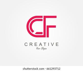 CF Letter Logo Design Template Element