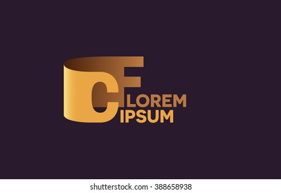 CF letters logo, C and F letters logo alphabet design.
