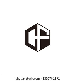 CF Logo Initial Monogram Negative Space Designs Modern Templete with Black color and White Background