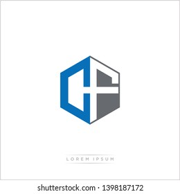 CF Logo Initial Monogram Negative Space Design Template With Blue and Grey color