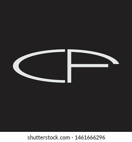 CF Logo letter oval monogram design template with black and white colors