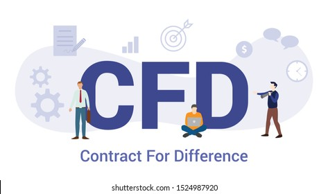 cfd contract for difference concept with big word or text and team people with modern flat style - vector