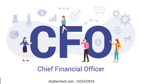 cfo chief financial officer concept with big word or text and team people with modern flat style - vector