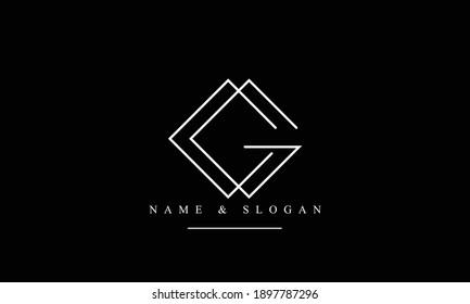 CG GC abstract vector logo monogram template